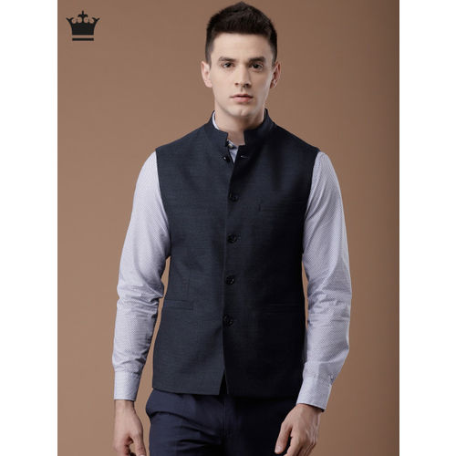 Louis Philippe Navy Blue Solid Nehru Jacket