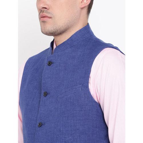 Blackberrys Blue Slim Fit Linen Nehru Jacket