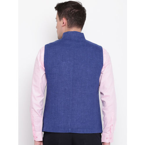 Blackberrys Blue Slim Fit Linen Nehru Jacket