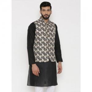 Wintage Men Off-White, Grey & Black Printed Nehru Jacket