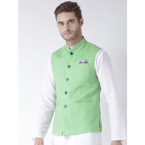 Hangup Men Lime Green Woven Nehru Jacket
