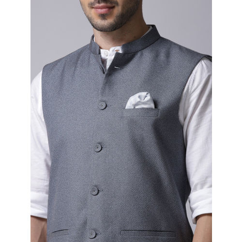 1a15f75004 Buy True Blue Men Blue Self-Design Nehru Jacket online | Looksgud.in