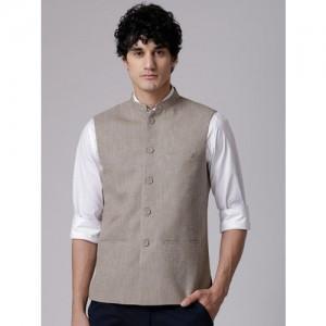 True Blue Men Beige Self-Design Nehru Jacket