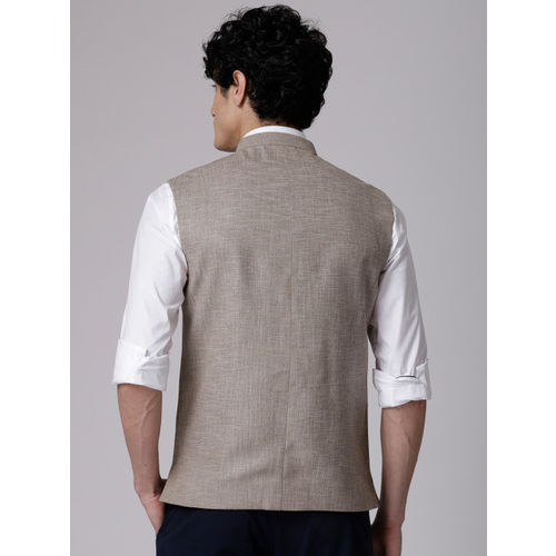 True Blue Men Beige Self-Design Nehru Jacket
