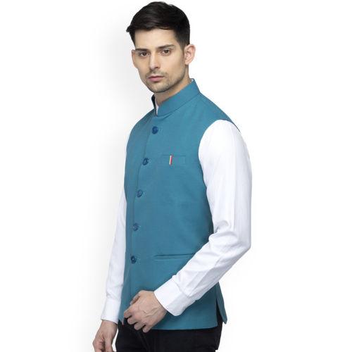 Favoroski Men's Teal Nehru Jacket