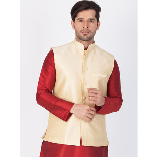 Vastramay Men Gold-Toned Woven Nehru Jacket