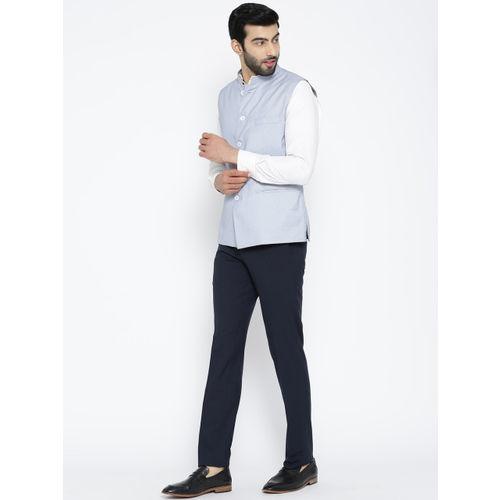 Shaftesbury London White & Blue Patterned Nehru Jacket