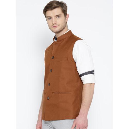 Shaftesbury London Rust Brown Nehru Jacket