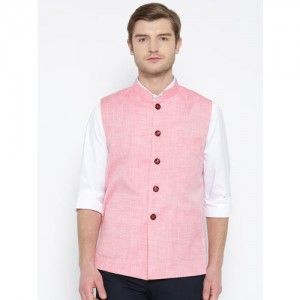 Shaftesbury London Pink Solid Nehru Jacket