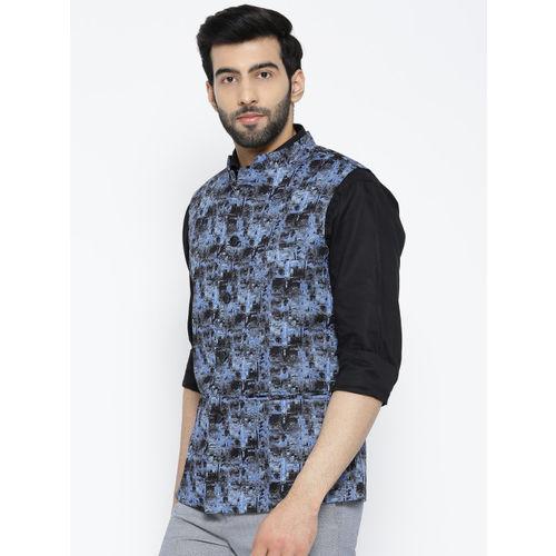 Shaftesbury London Black & Blue Printed Nehru Jacket