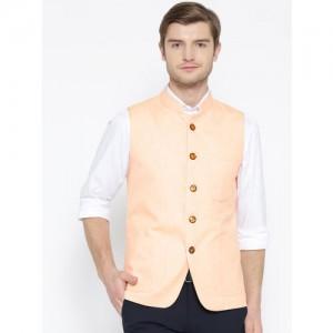 Shaftesbury London Peach-Coloured Nehru Jacket