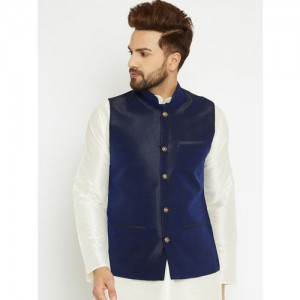 SOJANYA Navy Blue Woven Design Nehru Jacket