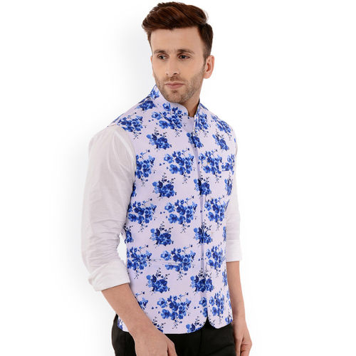 Hangup Men White & Blue Printed Nehru Jacket