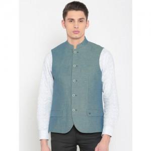 Lombard Blue Printed Slim Fit Nehru Jacket