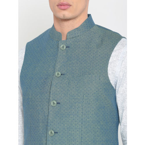 Lombard Blue Printed Slim Fit Nehru Jacket