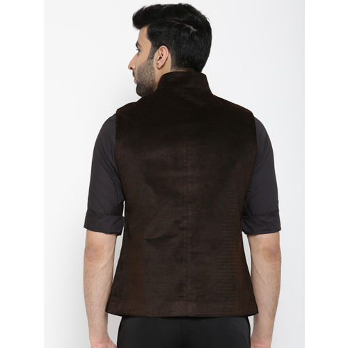 Blackberrys Brown Self-Design Slim Fit Nehru Jacket