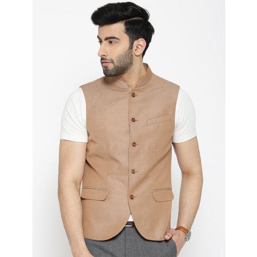 Blackberrys Brown Solid Slim Fit Nehru Jacket