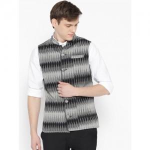 Svanik Men Black & Grey Printed Slim Fit Nehru Jacket