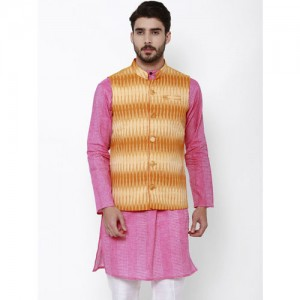 Svanik Men Off-White & Blue Printed Slim Fit Nehru Jacket