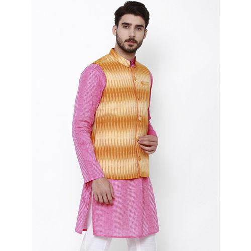 Svanik Men Off-White & Blue Printed Slim Fit Nehru Jacket