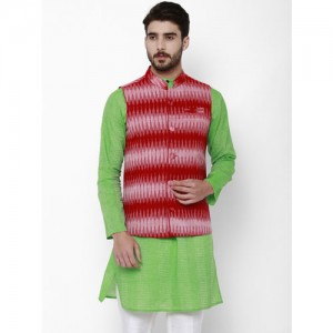 Svanik Men Red Printed Slim Fit Nehru Jacket