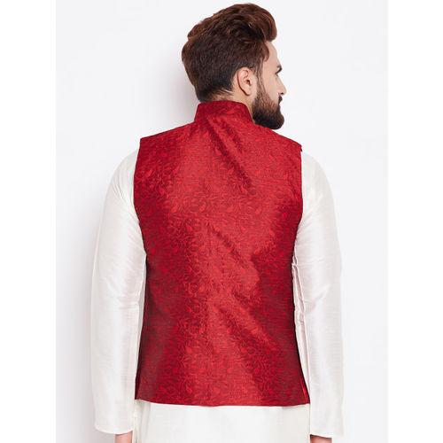 SOJANYA Maroon Woven Design Nehru Jacket
