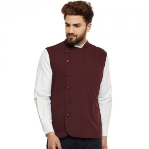 Hypernation Men Brown Double-Breasted Nehru Jacket