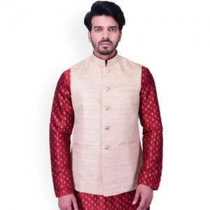 Manyavar Beige Nehru Jacket