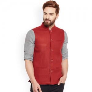 even Men Red Solid Nehru Jacket