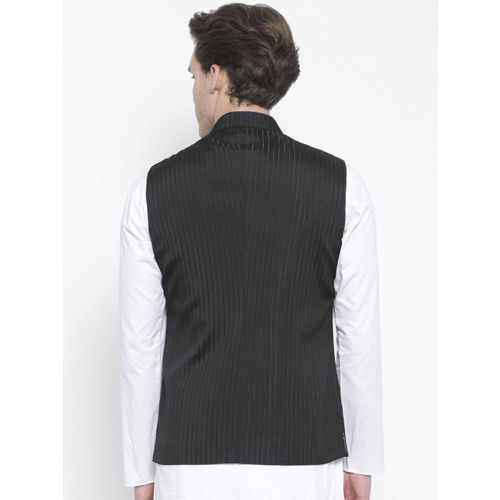 TOZZI Black Striped Nehru Jacket