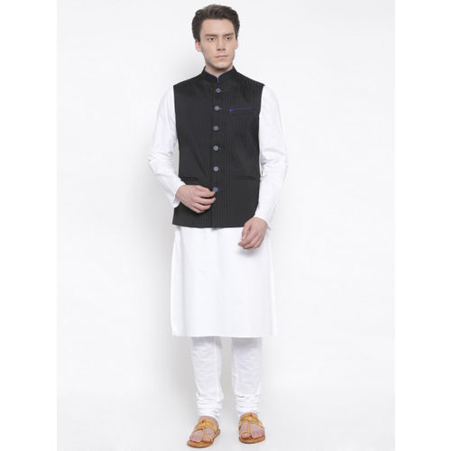 TOZZI Black Striped Nehru Jacket