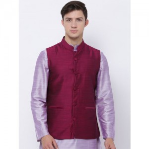Svanik Burgundy Nehru Jacket