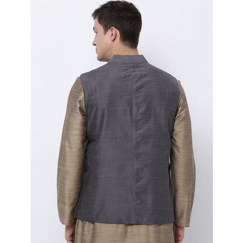 Svanik Grey Solid Slim Fit Nehru Jacket
