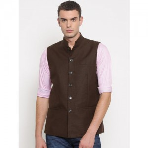 Theme Men Brown Linen Nehru Jacket