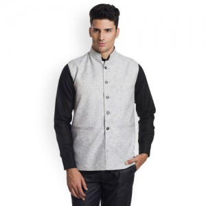 Wintage Grey Woven Nehru Jacket