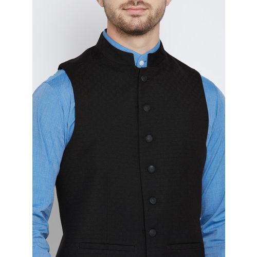 Blackberrys Black Patterned Slim Fit Nehru Jacket