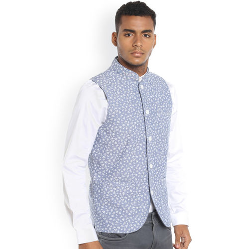 Jack & Jones Men Blue Printed Nehru Jacket