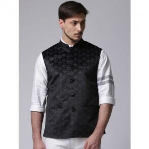 True Blue Black Printed Nehru Jacket