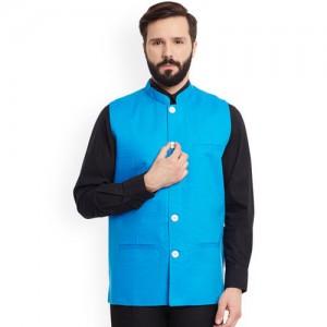 even Blue Linen Nehru Jacket