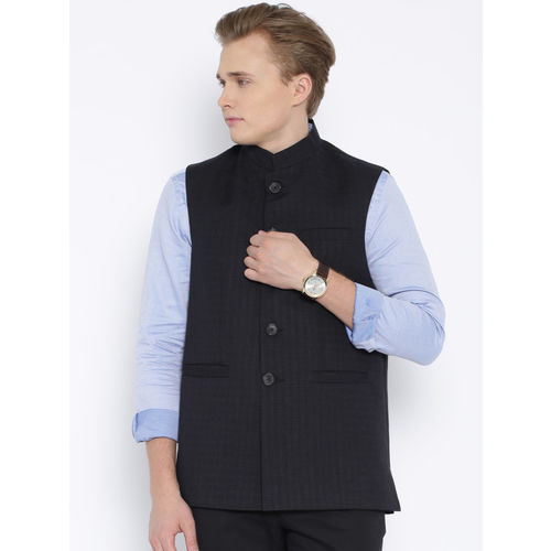 Four One Oh Navy Checked Nehru Jacket