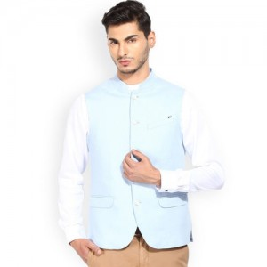 Blackberrys Blue Linen Nehru Jacket