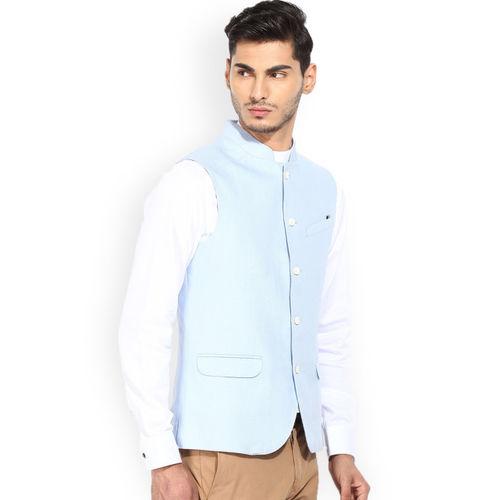 Blackberrys Blue Linen Nehru Jacket