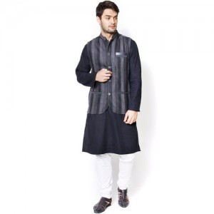 even Black & Grey Striped Slim Fit Nehru Jacket