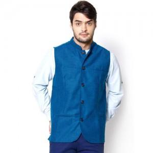 even Blue Woollen Slim Fit Nehru Jacket