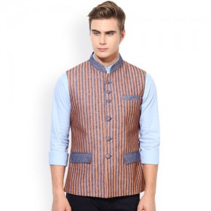 Monteil & Munero Orange Striped Waistcoat