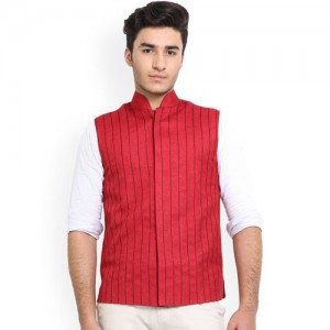 Shaftesbury London Red Striped Jute Nehru Jacket