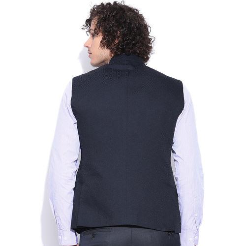 Arrow Black Nehru Jacket with Woven Pattern
