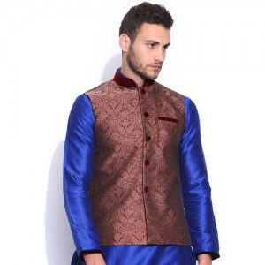 Manyavar Men Maroon & Grey Nehru Jacket