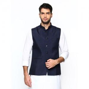 Manyavar Navy Blue Nehru Jacket