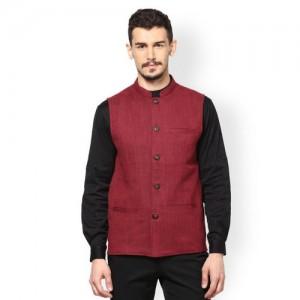 even Men Maroon Slim Fit Nehru Jacket